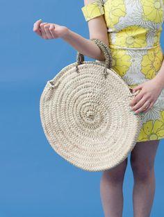 set of 2 , Large Round French Market Beach Palm Basket Tote Shopper Holiday Bag Storage Bohemia Design, Beach Basket, Market Baskets, Basket Bag, Grab Bags, Decoration, Bag Storage, Bag Making, Straw Bag