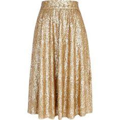Gold sequin A line midi skirt
