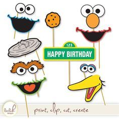Sesame Street Printable Photo Booth Props - Elmo, Cookie Monster, Oscar the Grouch, Big Bird, Bert Sesame Street Party, Sesame Street Birthday, Elmo Birthday, 3rd Birthday Parties, Birthday Ideas, Anniversaire Elmo, Elmo Cookies, Cookie Monster Party, Elmo Party