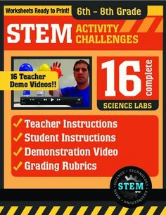 Science Demo Guy on TpT—really great STEM / STEAM resource!! Activity Challenge 16 Pack: Middle School, 6th-8th grade. Perfect for meeting NGSS standards! Each activity includes a teacher instruction video that clearly explains how to set everything up and the science behind it.