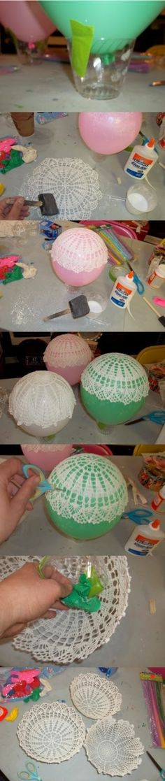 """Blueberry Bog :: vintage & handmade: DIY :: Upcycled Doily Bowls at Blueberry Bog [ """"try with slip dip?"""", """"DIY :: Upcycled Doily Bowls: I could make these into hot air balloons for Dolcie Diy Projects To Try, Crafts To Make, Easy Crafts, Craft Projects, Arts And Crafts, Deco Luminaire, Doilies Crafts, Upcycle, Balloons"""