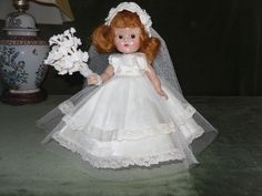 1950s SLW Ginny, Ivory White Bridal Dress, Vintage Veil & Headdress & Brown Eyes #VogueGinnyDoll