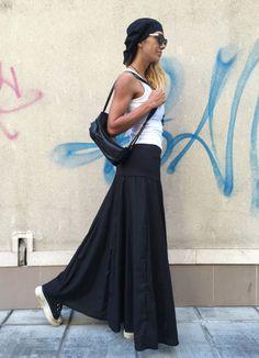 Womens Black Maxi Skirt / Oversize Elegant Linen by SSDfashion
