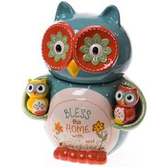 Owl Cookie Jar with Salt & Pepper Shaker Set by Cracker Barrel Owl Kitchen Decor, Owl Home Decor, Owl Cookies, Owl Always Love You, Beautiful Owl, Owl Crafts, Owl House, Night Owl, Owl Art