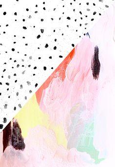 Polka Dots & Paint Art Print, texture, paint, terrazzo, pattern,