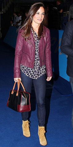 Pippa Middleton in purple leather jacket, printed blouse, and booties