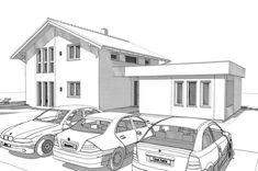 ELK Haus 153 mit Büro Anbau & Zwerchgiebel - ELK Fertighaus | HausbauDirekt Living Haus, Modern House Plans, Villa, Plane, Houses, Collection, Modern Houses, Trendy Tree, Modern Prefab Homes