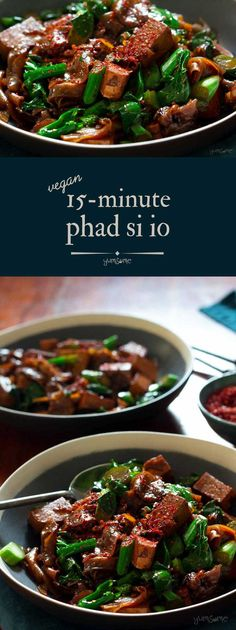 This Thai sauce is one of the quickest meals youll ever make Its not only really filling but truly delicious too via Quick Vegan Meals, Vegan Dinner Recipes, Entree Recipes, Delicious Vegan Recipes, Asian Recipes, Vegetarian Recipes, Easy Meals, Dried Tofu, Soy Sauce