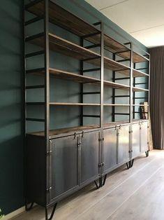 WeinbergWoodworks - home Metal Furniture, Industrial Furniture, Home Furniture, Furniture Design, Industrial Living, Industrial Shelving, Modern Industrial, Metal Bookcase, Bookcase Shelves