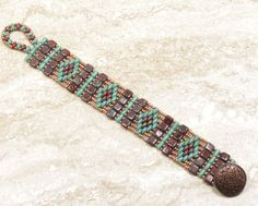 SUPERDUO TILE BRACELET - SuperDuo Diamond Czechmate Tiles & Rullas Bracelet - Umber Picasso - Turquoise Picasso - Miyuki Seed Beads by CinfulBeadCreations on Etsy