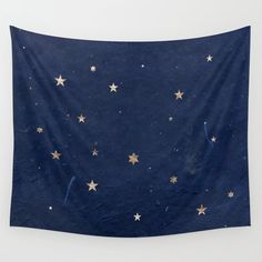Good Night - Leaf Gold Stars On Dark Blue Background Wall Hanging Tapestry by Western Exposure - Small: x