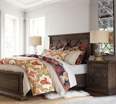 Lorraine Wood Bed, Extra Wide Dresser & 2 Bedside Tables   Pottery Barn