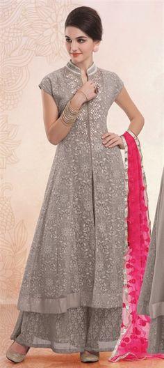 424700, Party Wear Salwar Kameez, Faux Georgette, Moti, Lace, Sequence, Resham, Silver Color Family