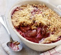 Paleo Rhubarb and Apple Crumble - Kat Loterzo...replace rhubarb with mixed berries