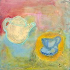 "Tea Pot & Cup by Carolyn Holman, 4.5 x 4.5"""
