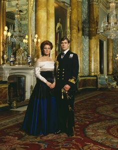 The Royal Watcher - Official pictures of Prince Andrew, Duke of York to Sara Ferguson of their engagement at Buckingham Palace, 1986.  Photographer: Terence Donovan