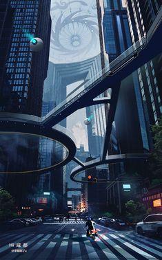 Cyberpunk Aesthetic, Cyberpunk City, Arte Cyberpunk, Futuristic City, City Aesthetic, Futuristic Architecture, Futuristic Design, Futuristic Technology, Chinese Architecture
