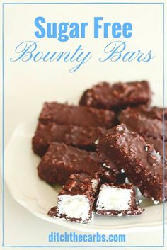 Sugar free bounty bars (coconut bars) are super easy to make, the children love them and they are a great low carb snack. | ditchthecarbs.com via @ditchthecarbs