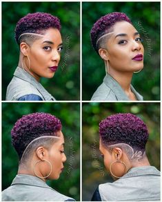 Click the link below to read about top tapered haircuts for women in – Tapered Hair Cut Purple Natural Hair, Natural Hair Short Cuts, Short Natural Haircuts, Tapered Natural Hair, Purple Hair, Short Hair Cuts, Natural Hair Styles, Shaved Hair Designs, Pelo Afro