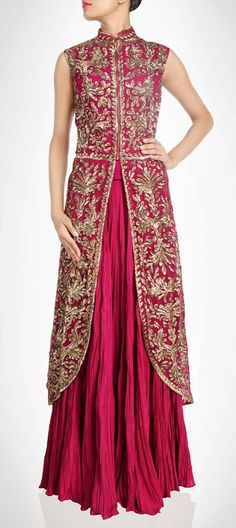 407913, Party Wear Salwar Kameez, Georgette, Stone, Bugle Beads, Sequence, Red and Maroon Color Family