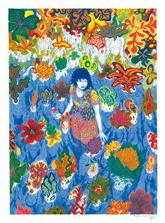 Dessin d'une femme dans l'eau entouré de monstres fleuris.