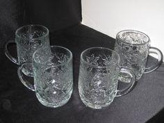 """Princess House Crystal Glass Fantasia Poinsettia 4 COFFEE MUGS 4""""   eBay"""