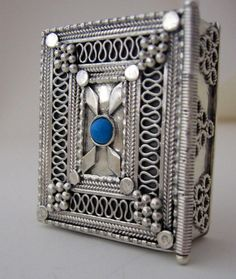 Silver Torah case box. Yemenite Filigree style set with Turquoise stone $370