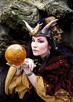 Fortune Teller Seer Priestess Horn Headdress Photography Pagan Magick Occult Crystal Ball Gazer Greeting Card SOOTHSAYER by Spinning Castle