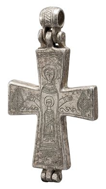 Medieval Religious jewelry a fine silver engraved Reliquary Pendant in the shape of a crucifix