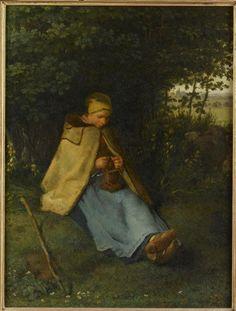 """Jean-François Millet:  """"La tricoteuse"""", 1858/60, oil on wood, Dimensions: Hauteur : 0.39 m Largeur : 0.295 m, Current location: Paris, musée d'Orsay."""