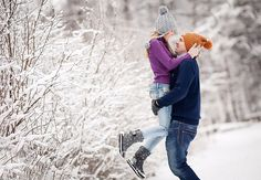 knitted hats and sweaters, snowy weather, winter love story