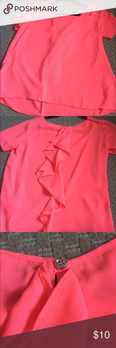 Ruffle back tshirt Hot pink shirt with ruffle accent in back. Button closure. Charming Charlie Tops Blouses