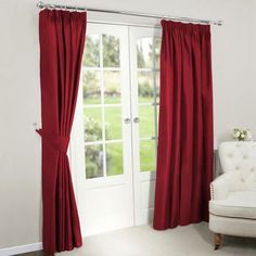 Red Nova Blackout Pencil Pleat Curtains | Dunelm