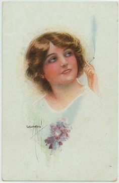 Sophisticated woman smoking cigarette - signed Usabal circa 1920s