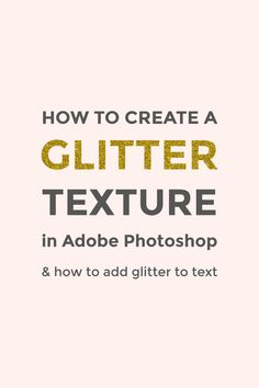Learn how to make a glitter texture in Photoshop in just a few easy steps. You can also add glitter to text by using clipping masks.