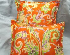 Custom Made Square Shams 16x16 RALPH LAUREN Fabric ORANGE PAISLEY