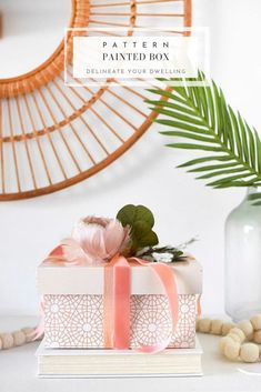 Learn how to create a gorgeous gift box by using spray paint.  A geometric pattern painted box is perfect to sit out in your home for a unique decor statement, too. Delineate Your Dwelling Easy Crafts, Diy And Crafts, Home Decor Boxes, Paint Combinations, Trendy Home Decor, Color Crafts, Painted Boxes, Painting Patterns, Inspired Homes