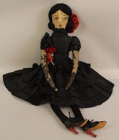 Antique Boudoir cloth doll dressed in silk taffeta~Image ©  Alderfer Auction