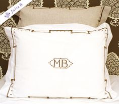 white linens with classic greek key and square polka dots
