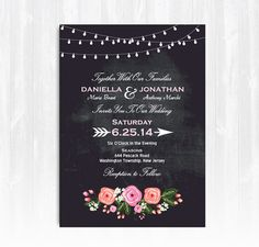 Chalkboard Peony Wedding Invitation. This Chalkboard String Lights Wedding Invitation with Peonies will be personalized with your choice of