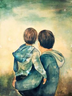 Father and son With birds от claudiatremblay на Etsy Painting People, Painting For Kids, Art For Kids, Mother And Child Drawing, Claudia Tremblay, Painting Wallpaper, Father And Son, Collage Art, Cute Art