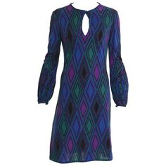 1970s KEN SCOTT Abstract Geometric Print Jersey Dress | From a collection of rare vintage day dresses at https://www.1stdibs.com/fashion/clothing/day-dresses/