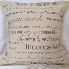 Princess Bride movie quote pillow cover by CraftEncounters on Etsy, $38.00