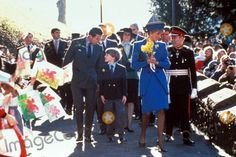 March 1, 1991: Prince Charles and Princess Diana and their son, Prince William on his first official engagement on St. David's Day (the patron saint) at Cardiff, Wales. The yellow daffodil represented Wales.