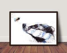 Excited to share the latest addition to my #etsy shop: Badger and Bee ,Original Watercolour Painting Print,Art Card, Framed by Artist Be Coventry Wildlife Animal Art, UK Free Postage https://etsy.me/2EFPZAc #art #painting #black #housewarming #white #thanksgiving #badg