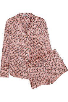Olivia von Halle Alba Mizuki printed silk-satin pajama set | NET-A-PORTER