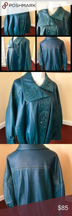 "Vintage leather jacket. Great for Spring! Butter soft teal leather blouson style jacket, with 100% viscose lining. Euro size 40, however this is a generous cut jacket, measurements 22"" armpit to armpit, 27"" length, 24 1/2"" sleeves. Beautiful gold embroidered design as shown in pictures. Photo of slight mark shown, I'm sure it can be cured with leather conditioner, otherwise in excellent vintage condition. Made in Yugoslavia. Vintage Jackets & Coats"