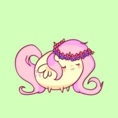 #914639 - artist:pekou, chubbie, floral head wreath, fluttershy, part of a set, safe, solo - Derpibooru - My Little Pony: Friendship is Magic Imageboard