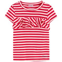 Cotton jersey  Pleasant to the touch Straight fit Crew neck Short sleeves Stripes Fancy flounces Brand print - $ 97