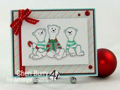 Art Impressions Rubber Stamps:  Polar Pals! Sitting Polars (sku# 4081) Handmade Christmas card.